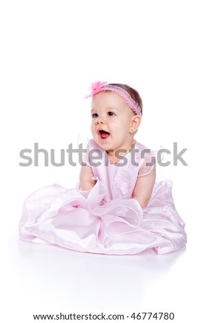 Baby princess. Very cute happy baby girl wearing princess dress. Isolated on white. - stock photo