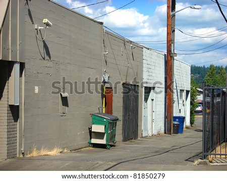 back alley with security camera - stock photo
