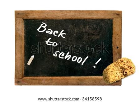 """Back to school!"" - on small vintage blackboard - stock photo"