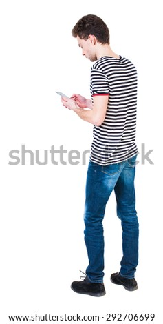 back view of man in suit  talking on mobile phone.    rear view people collection. Isolated over white background. backside view of person. The guy in the striped shirt digging in... - stock photo