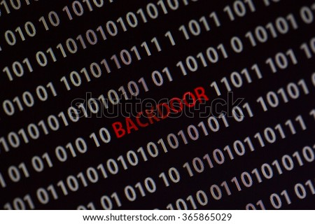 'Backdoor' word in the middle of the computer screen surrounded by numbers zero and one. Image is taken in a small angle.