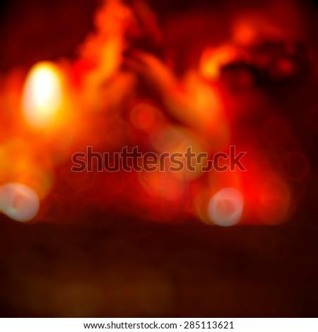 background blur burning wooden logs - stock photo