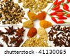 background of spices in a pattern - stock photo