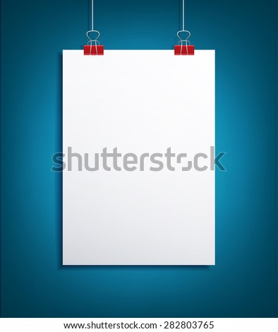 background with a piece of paper hanging on the blue wall (element for design, template) - stock photo