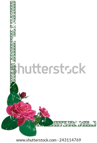 background with flowers of roses for corner design - stock photo