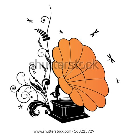 background with the gramophone and dragonflies - stock photo