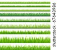 9 Backgrounds Of Green Grass, Isolated On White Background - stock vector