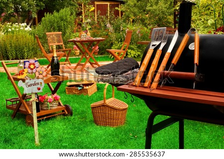 Backyard BBQ Grill Party Or Picnic Concept