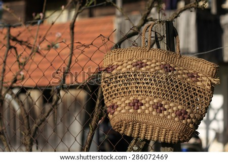bag on a fence - stock photo