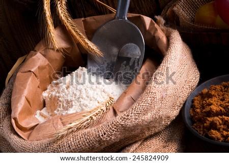 Bag with flour  - stock photo