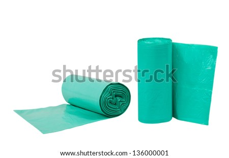 Bags garbage rolls isolated on white background - stock photo