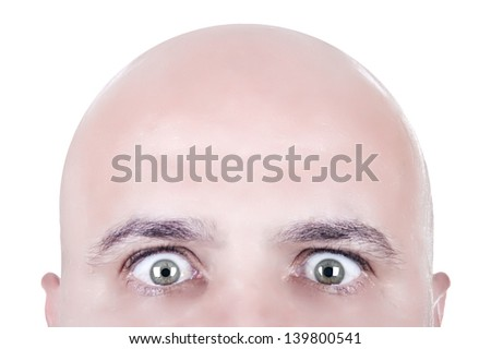 bald head looking face isolated - stock photo
