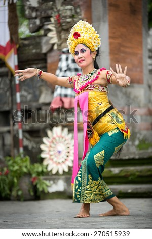 BALI, INDONESIA, DECEMBER, 24,2014: Barong Dance show, the traditional Balinese performance on December 24, 2014 in Bali, Indonesia - stock photo