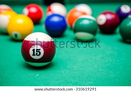 15 Ball from pool or billiards on a billiard table - stock photo