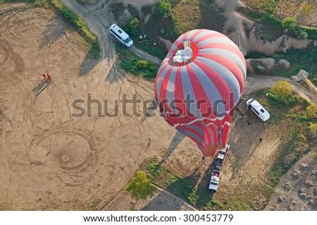 Balloon flight in Cappadocia, Turkey. - stock photo