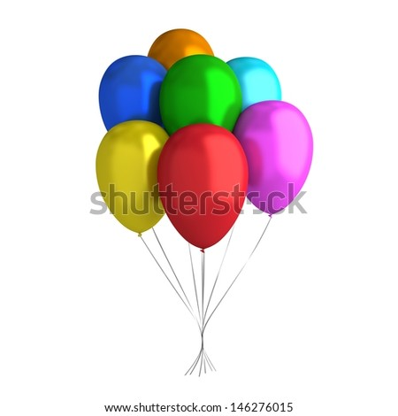 7 Balloons - stock photo