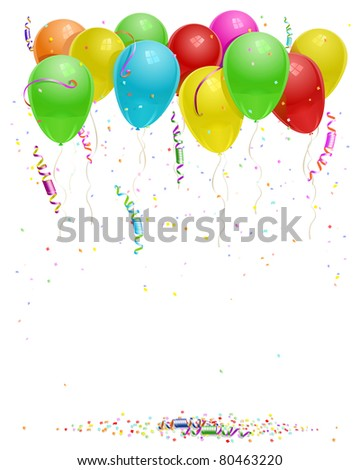 balloons background with party streamers and beautiful confetti JPEG