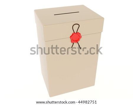 ballot box with red wax - stock photo