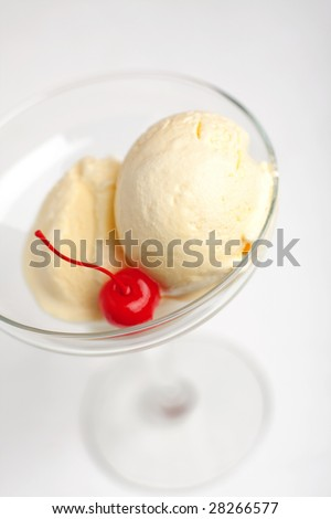 2 balls of ice-cream with pickling cherry