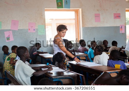 """BAMAKO, Mali - August 11,2009: Student attending typical lesson on an african rural school"""