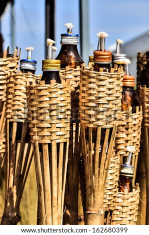 bamboo torches - stock photo
