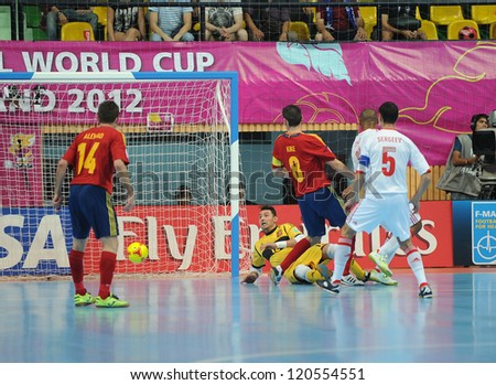 BANGKOK,THAILAND - NOV14:Goalkeeper Juanjo of Spain in action during the FIFA Futsal World Cup Quarterfinal Round between Spain and Russia at Nimibutr Stadium on Nov14,2012 in Bangkok,Thailand. - stock photo