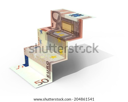 50 banknote folded as steps on white background, 3d illustration - stock photo