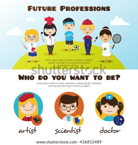 banners of cute cartoon kids in different professions. Children future professions design template