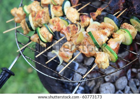 Barbecue view. Delicious grilled sausage, meat. - stock photo
