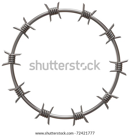 barbed wire circle - stock photo