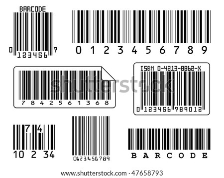 7 barcodes isolated on a white background - stock photo