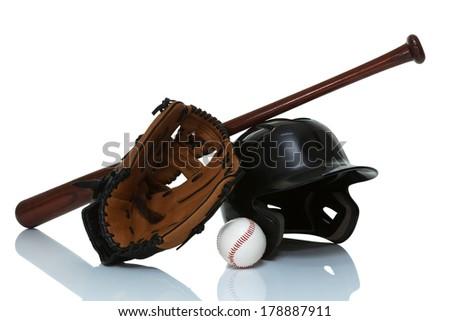 Baseball equipment isolated on white close up - stock photo