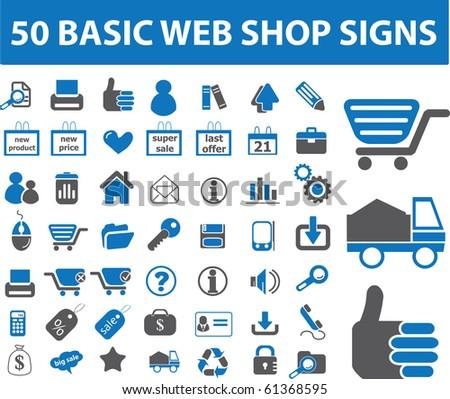 50 basic web shop signs. raster version - stock photo