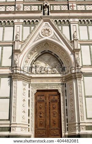 Basilica di Santa Croce (Basilica of the Holy Cross) is the principal Franciscan church in Florence, Italy, and a minor basilica of the Roman Catholic Church. - stock photo