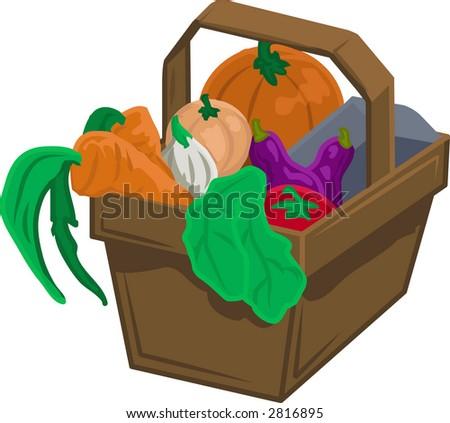 Basket of vegetable/ produce. Raster version - stock photo