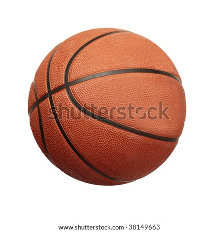 basketball  ball on white background with clipping path - stock photo