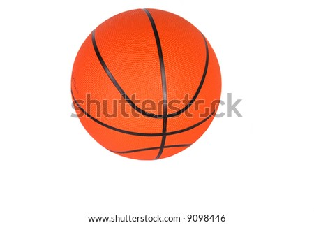 Basketball, round, orange with black stripes, official size and weight, white iso.