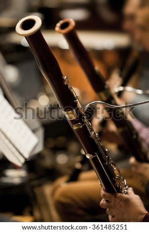 Bassoons in the orchestra closeup