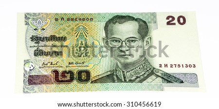 20 bath bank note. Bath is the national currency of Thailand