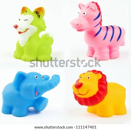 bath toys on a white - stock photo