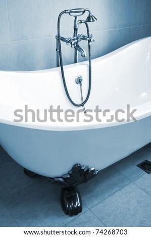 bath with bronze shower - stock photo