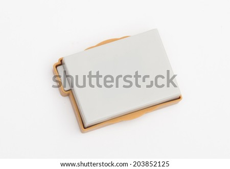 battery on the white background - stock photo