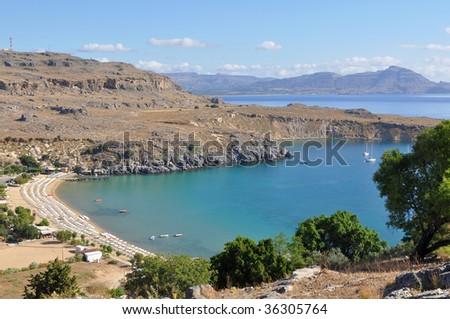 bay Vlicha next village Lindos,island Rhodes,Greece - stock photo