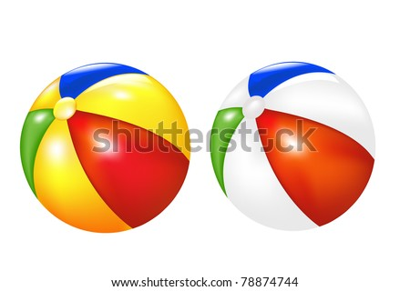 2 Beach Balls, Isolated On White Background