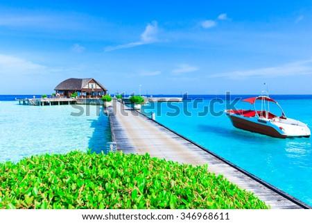 beach in Maldives - stock photo