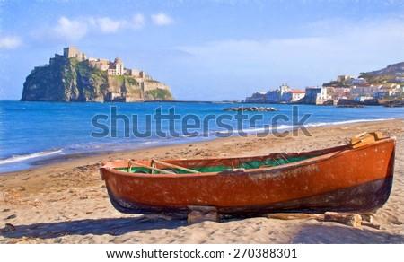 beach on Ischia Island, Italy - illustration based on own photo image - stock photo