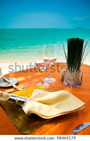 beach restaurant serving - stock photo