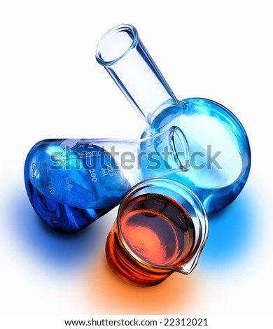Beaker, erlenmeyer flask and boiling flask with chemicals - stock photo