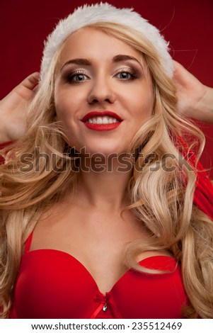 beautiful and sexy girl in the image of Santa Claus.