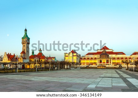 Beautiful architecture of Sopot at early morning, Poland. - stock photo